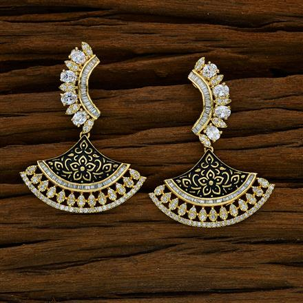 52587 CZ Long Earring with gold plating
