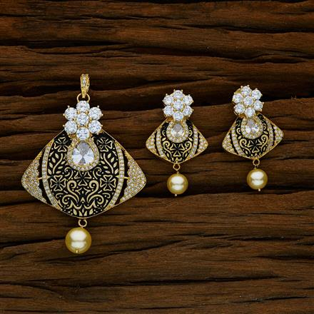 52591 CZ Classic Pendant Set with gold plating