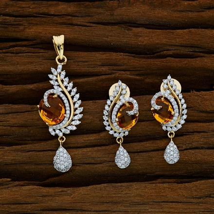 52595 CZ Classic Pendant Set with 2 tone plating