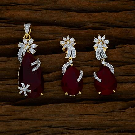 52600 CZ Classic Pendant Set with 2 tone plating