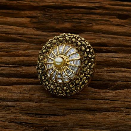 52616 CZ Classic Ring with gold plating
