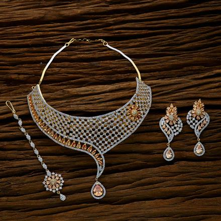 52626 CZ Mukut Necklace with 2 tone plating