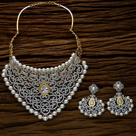 52627 CZ Mukut Necklace with 2 tone plating