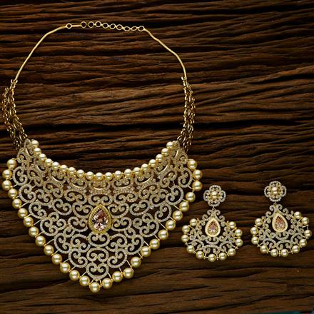 52628 CZ Mukut Necklace with gold plating