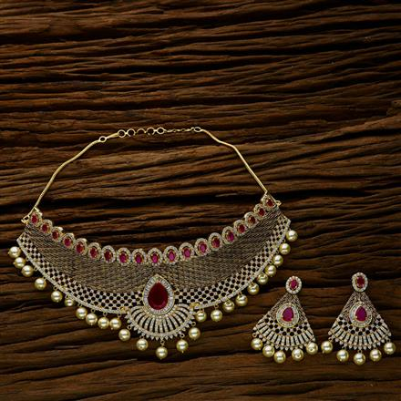 52631 CZ Mukut Necklace with gold plating