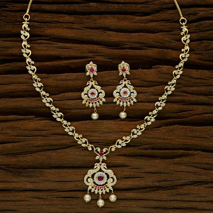 52638 CZ Delicate Necklace with gold plating