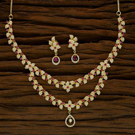 52639 CZ Classic Necklace with gold plating