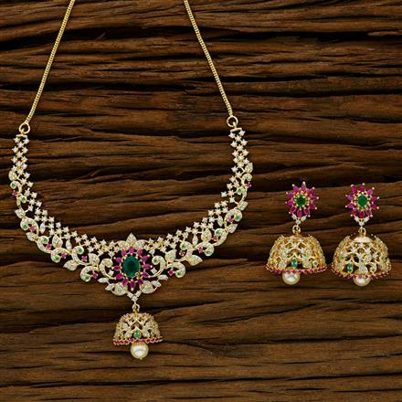 52641 CZ Classic Necklace with gold plating