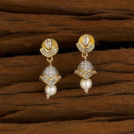 52646 American Diamond Jhumki with 2 tone plating