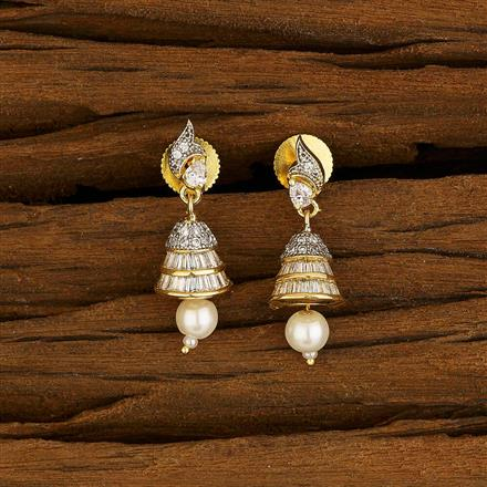 52647 American Diamond Jhumki with 2 tone plating