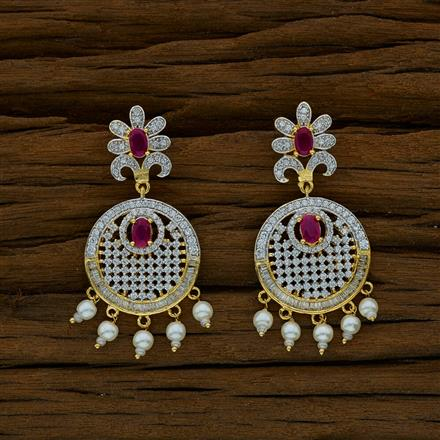 52650 CZ Short Earring with 2 tone plating