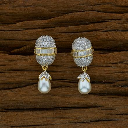 52651 CZ Short Earring with 2 tone plating