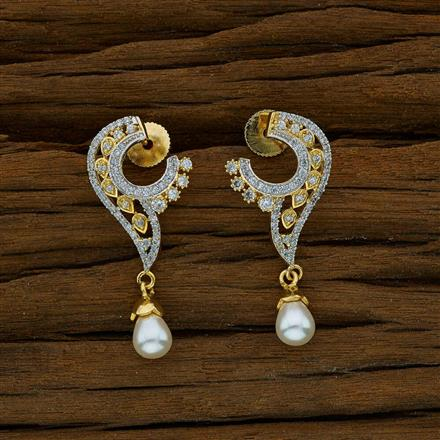52652 CZ Short Earring with 2 tone plating