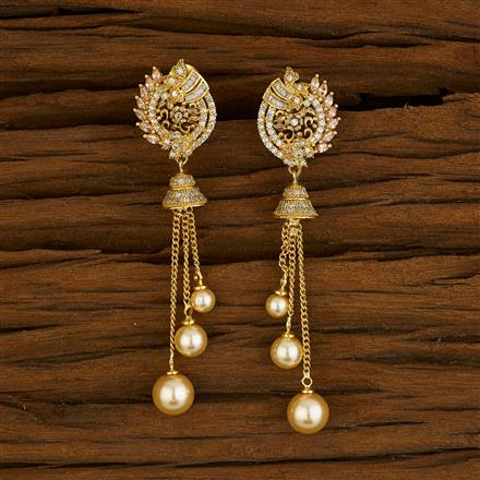 52658 CZ Long Earring with gold plating