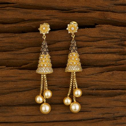 52659 CZ Long Earring with gold plating