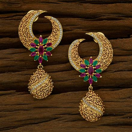 52660 CZ Long Earring with gold plating