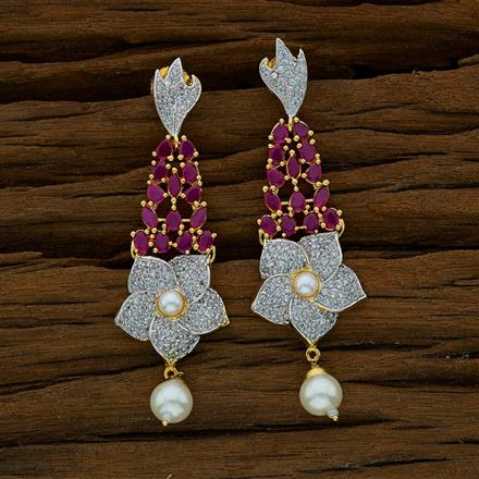 52661 CZ Short Earring with 2 tone plating