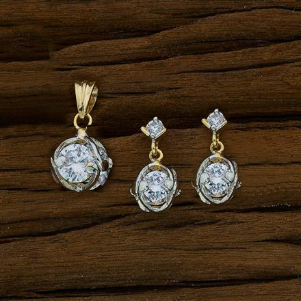 52664 CZ Delicate Pendant Set with 2 tone plating