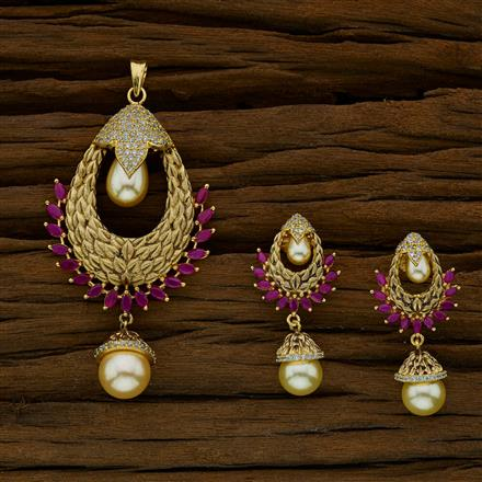 52667 CZ Classic Pendant Set with gold plating
