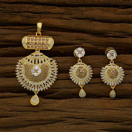 52668 CZ Classic Pendant Set with gold plating