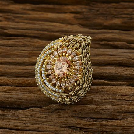 52686 CZ Classic Ring with gold plating