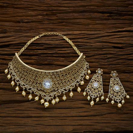 52705 CZ Mukut Necklace with gold plating