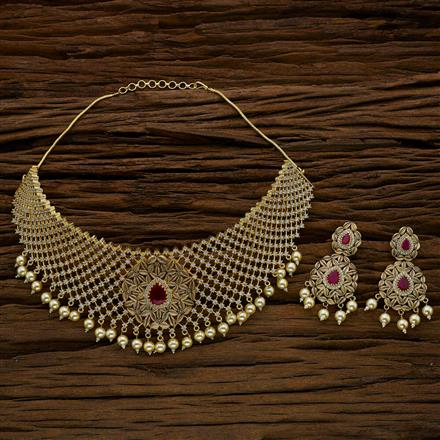 52706 CZ Mukut Necklace with gold plating