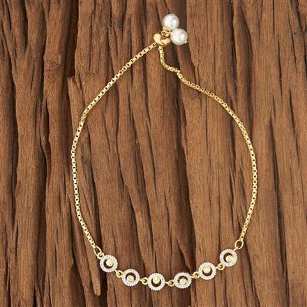 52716 CZ Adjustable Bracelet with 2 tone plating