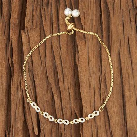 52720 CZ Adjustable Bracelet with 2 tone plating