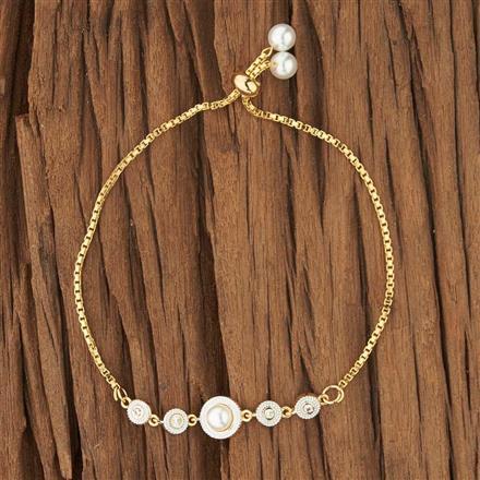 52723 CZ Adjustable Bracelet with 2 tone plating