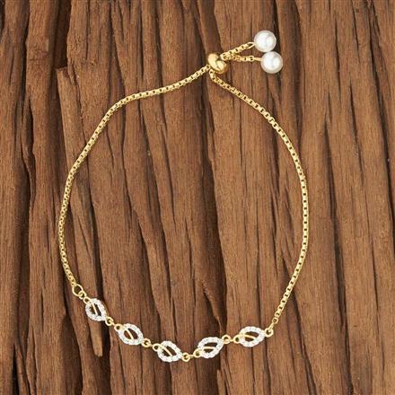 52724 CZ Adjustable Bracelet with 2 tone plating