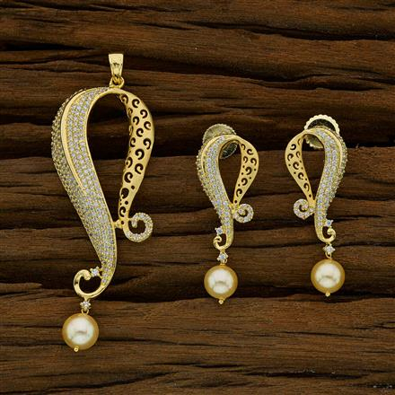 52733 CZ Classic Pendant Set with gold plating