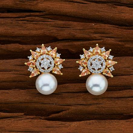 52741 CZ Short Earring with 2 tone plating