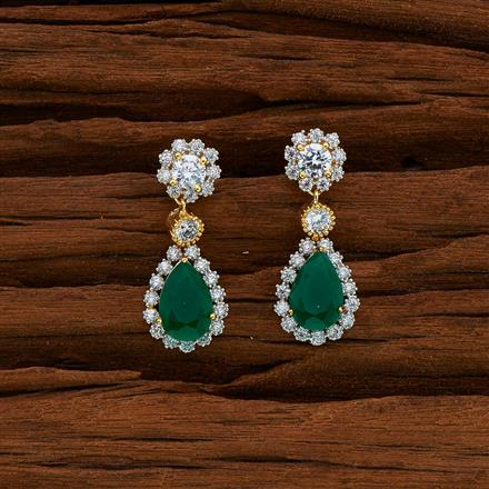 52744 CZ Short Earring with 2 tone plating