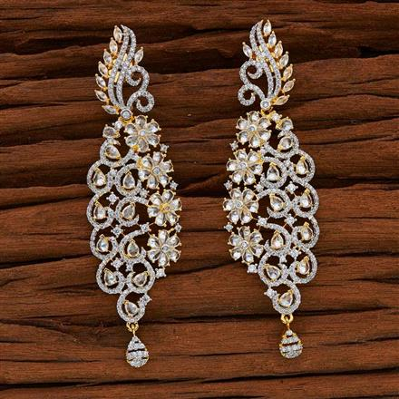 52746 CZ Long Earring with 2 tone plating