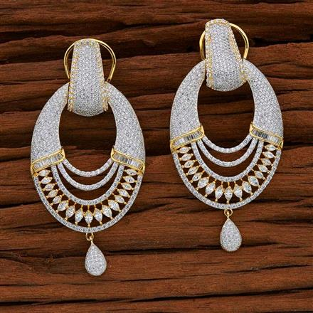 52747 CZ Long Earring with 2 tone plating