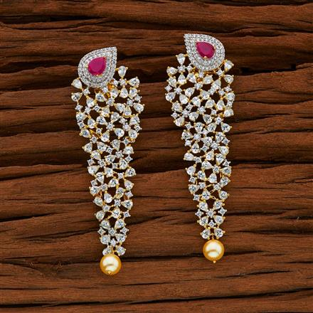 52756 CZ Classic Earring with 2 tone plating