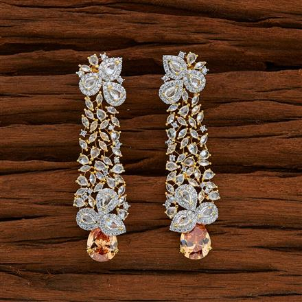 52757 CZ Long Earring with 2 tone plating