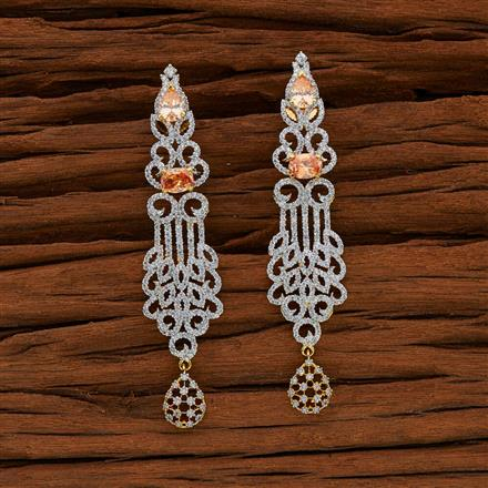 52758 CZ Long Earring with 2 tone plating