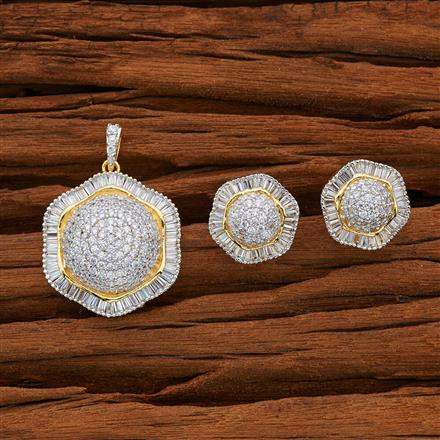 52763 CZ Classic Pendant Set with 2 tone plating
