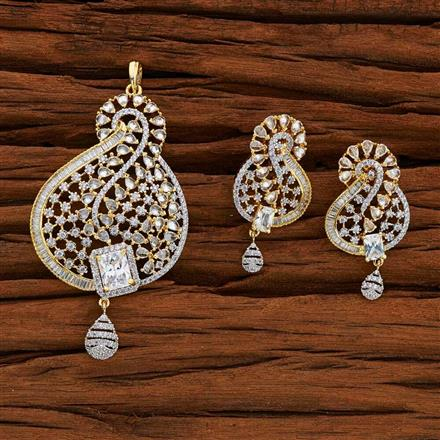 52765 CZ Classic Pendant Set with 2 tone plating