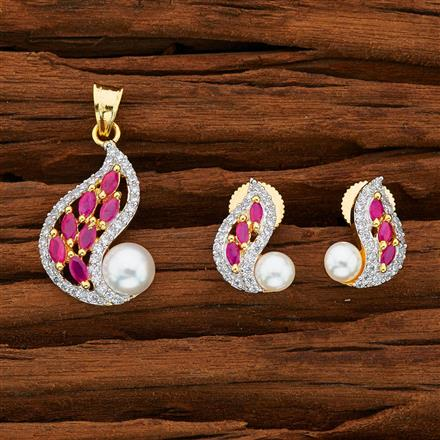 52771 CZ Delicate Pendant Set with 2 tone plating