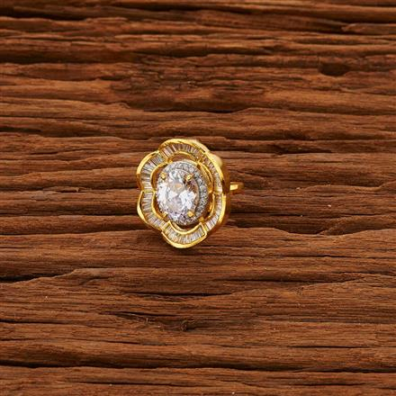 52789 CZ Classic Ring with 2 tone plating