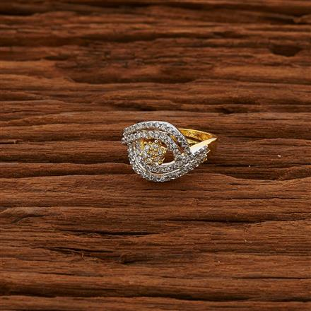 52791 CZ Delicate Ring with 2 tone plating