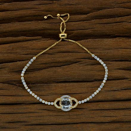 52815 CZ Adjustable Bracelet with 2 tone plating