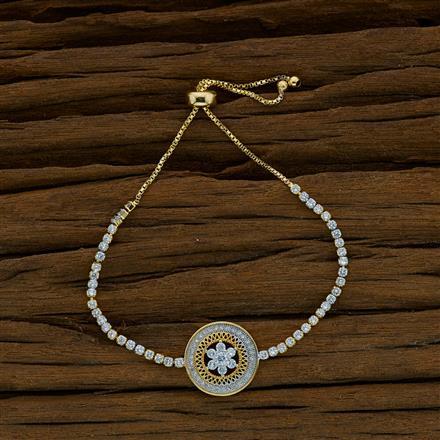 52816 CZ Adjustable Bracelet with 2 tone plating