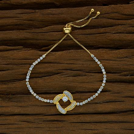 52817 CZ Adjustable Bracelet with 2 tone plating