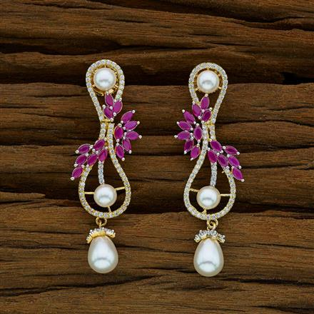 52847 CZ Short Earring with 2 tone plating