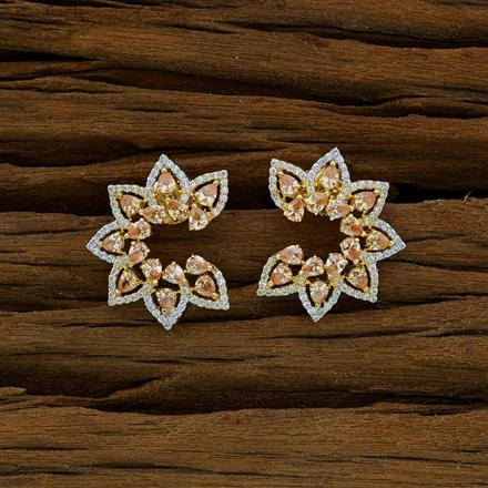 52903 CZ Chand Earring with 2 tone plating