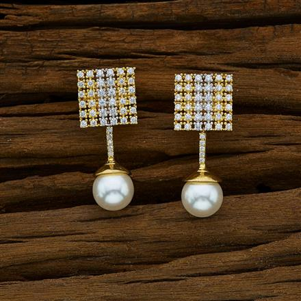 52909 CZ Short Earring with 2 tone plating